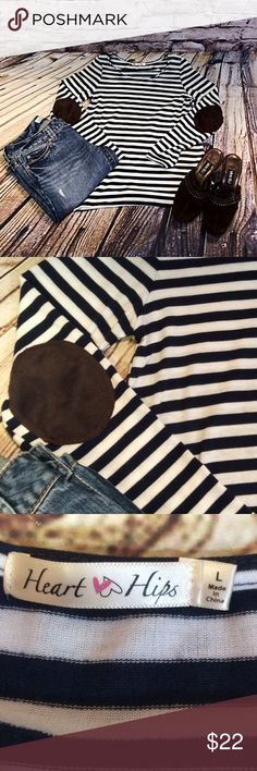 JUNIOR LARGE NAVY AND WHITE STRIPED TOP Cute top with a faux suede brown on the elbow. Super stretch. Tops Tees - Long Sleeve