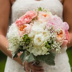 A wedding that's a little bit rustic and a little bit vintage, with gorgeous peonies, garden roses, and more in hues of blush and coral.
