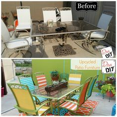 Patio Update on a Tiny Budget Spray paint chairs Spray