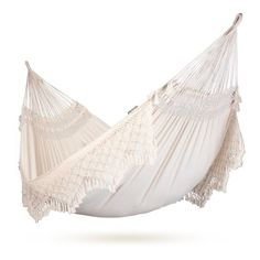 Organic cotton family sized hammock made with beautifully detailed fringes!