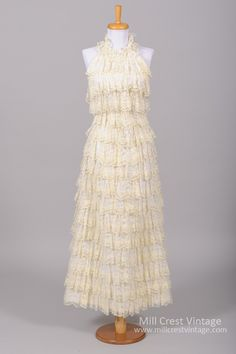 1970 Ruffle Tiered Lace Vintage Wedding Gown