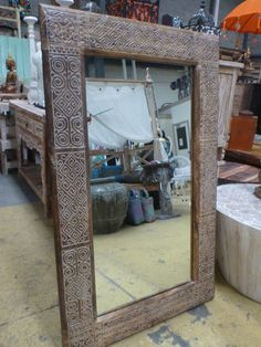 Balinese Timor Style Frame Timber Hand Carved Large Mirror 130cm x 80cm