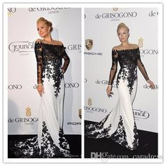 Elegant Celebrity Dresses Long Sleeves Evening Dress 2016 Black and White Lace Applique Mermaid Prom Dresses Party Formal Gowns Plus Size