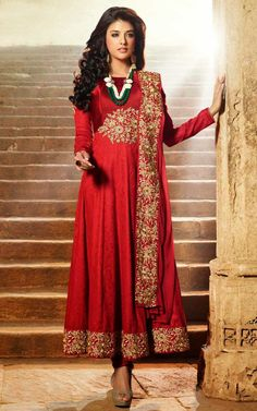 RED COTTON ANARKALI SALWAR KAMEEZ - DIF 29566