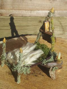Fairy Bed with book shelf & reading candle by MyFairyHome on Etsy Fairy Furniture, Fairy Houses, Tinkerbell, Bookshelves, Dollhouse Miniatures, Fairy Tales, Handmade Gifts, Fairies, Lantern