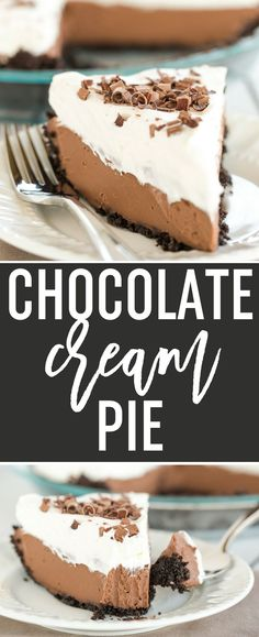 Chocolate Cream Pie - A classic (from scratch!) recipe with Oreo cookie crust, a chocolate pastry cream filling and fresh whipped cream. via @browneyedbaker