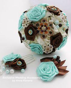 Букет невесты - брошь букет - Букет невесты - Шоколад и мята - бутоньерка - гребень для невесты