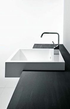 Minimalist Bathroom // modern white vanity sink and wood countertop // Mastella Design Terma