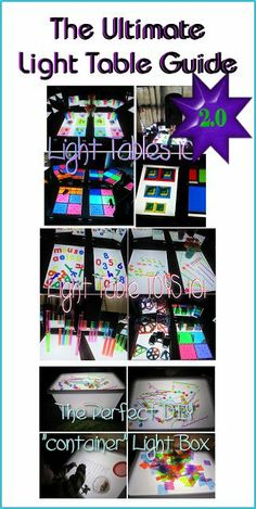 Twins at play!: The Ultimate Light Table Guide. Many links for light table activities. Sensory Table, Sensory Bins, Sensory Activities, Sensory Play, Activities For Kids, Diy Light Table, Licht Box, Light Board, Light And Shadow