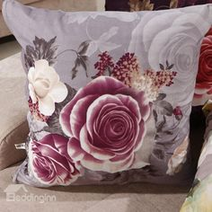 New Arrival Elegant Light Purple Rose Print Throw Pillowcase  @bedding inn