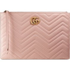 Gucci Gg Marmont Matelassé Leather Pouch (€655) ❤ liked on Polyvore featuring bags, handbags, clutches, light pink, leather zip pouch, gucci bags, zip top bag, pouch bag and chevron bags