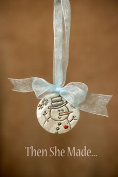 stamped clay ornament