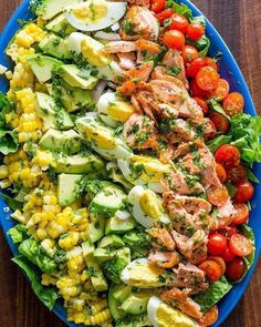 Salmon Cobb Salad is a modern spin on the classic American Cobb salad. - Salmon Cobb Salad is a modern spin on the classic American Cobb salad. It is definitely a feel-good - Salad Recipes Video, Salad Recipes For Dinner, Chicken Salad Recipes, Healthy Salad Recipes, Diet Recipes, Cooking Recipes, Salmon Salad Recipes, Salad Chicken, Healthy Chicken