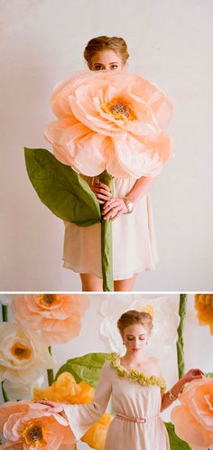 Giant-Flower DIY- fleur géante   http://www.designsponge.com/2012/02/diy-project-giant-paper-flowers-from-ruche.html