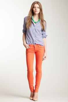 frankie b My BFF Jegging in Fire orange Cute Summer Outfits, Spring Outfits, Cute Outfits, Work Outfits, Orange Pants Outfit, Spring Summer Fashion, Winter Fashion, Style Summer, Color Naranja
