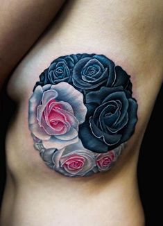 Ying-yang rose I did a couple days ago. Ashley was super tough sitting for this long session on the ribs. Hand Tattoos, Skull Hand Tattoo, Rose Tattoos, Body Art Tattoos, Sexy Tattoos, Tatoos, Unique Tattoo Designs, Tattoo Designs For Women, Unique Tattoos