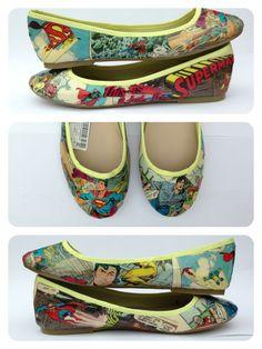 Comic or Superhero theme wedding - Superman comic book shoes