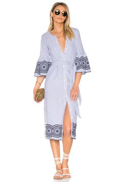 Tularosa x REVOLVE Halo Midi Dress in Navy Pinstripe