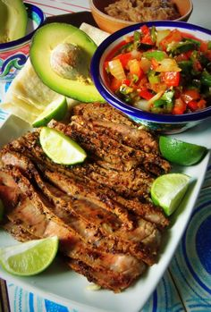 Steak and Grilled Pico de Gallo~ grilling adds such a great flavor to the tomatoes, chiles and onions. A one pound steak with refried beans, rice, avocado slices and salsa will serve 4 people.