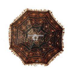 Indian Ethnic Decorative Zari Embroidered Work Crafted Summer Cotton Umbrella #Handmade #Parasol