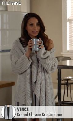 Rachel Zane's White Vince Draped Chevron-Knit Cardigan from Suits ...