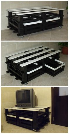 Beautiful Pallet Table As A TV Stand  #drawers #livingroom #pallettable…