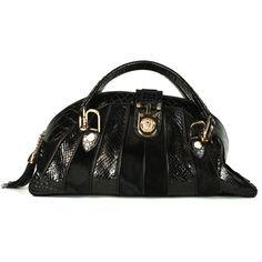 a12762881777 Pre-Owned Versace Black Python Pony Hair Top Handle Bag ( 2