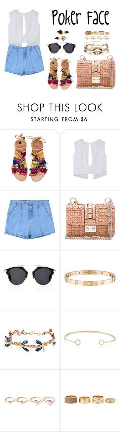 """Poker Face"" by anaelle2 ❤ liked on Polyvore featuring Elina Linardaki, Chicnova Fashion, Valentino, Christian Dior, Cartier, Vernissage, Melissa Joy Manning, Eddie Borgo, Charlotte Russe and Vita Fede"