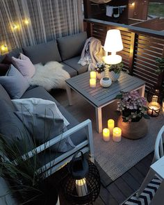small balcony with cozy seating area, candles and lanterns - .-petit balcon avec coin salon intime, bougies et lanternes – Balcon Decoration small balcony with private seating area, candles and lanterns, - Small Porch Decorating, Apartment Balcony Decorating, Apartment Balconies, Decorating Ideas, Decor Ideas, Apartment Porch Decor, Interior Balcony, Apartments Decorating, Cozy Apartment