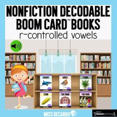 Your students will LOVE this digital, decodable library of SIX NONFICTION Boom Card Books with r-controlled vowels! The books in this library have a focus on r-controlled vowels (ar, ir, er, or, and ur). Students will meet Emma on the first slide. By clicking the audio button, Emma will welcome them... First Grade Phonics, Second Grade Teacher, Reading Lesson Plans, Reading Lessons, Library Page, Small Group Reading, Words Containing, Phonics Lessons, E Words