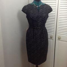 "Jones New York Sheath Dress Black and gray fabric sheath dress with velvet rib cage trim and velvet trim cap sleeves.  Matching fabric belt with split neck.  Beautiful just beautiful!  38"" length 17"" pit to pit. Highlights curves Jones New York Dresses"