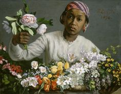 Frédéric Bazille, Young Woman with Peonies, 1870, Oil On Canvas, 23 5/8 x 29 1/2 in. (60 x 75 cm) © National Gallery of Art. Collection of Mr. and Mrs. Paul Mellon