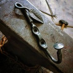 Hand forged wall hook.