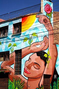 """Estefanía Leigthon, Stfi! """"Respira"""" Mural realizado para la III Bienal de Arte Urbano (BAU) organizado por el Proyecto Martadero en Cochabamba, Bolivia. Abril 2015."""