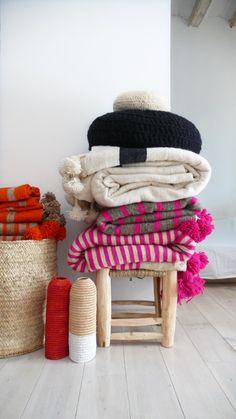 Image of Moroccan POM POM Wool Blanket Ecru and stripe Black