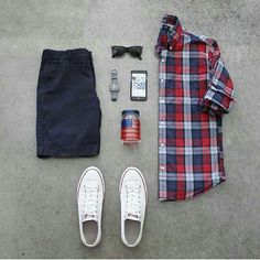 Outfit grid - bowtie & checked shirt
