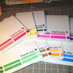 Clean and simple thank you card set w/ paint chips.