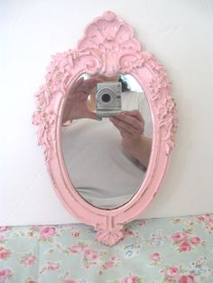 Shabby Chic Pink Wall Mirror VERY Ornate Swag Flowers Flourishes Shell Chippy Distressed Cottage Paris Victorian Flourishes Romance by VintageChicPleasures on Etsy