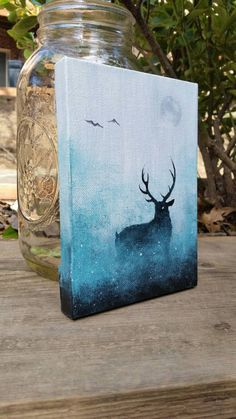Deer Painting Galaxy Canvas Painting Space Painting Mini Canvas Painting Deer Ca… - Mini Leinwand Kunst Space Painting, Easy Canvas Painting, Moon Painting, Diy Painting, Painting & Drawing, Creative Painting Ideas, Learn Painting, Mini Canvas Art, Diy Canvas