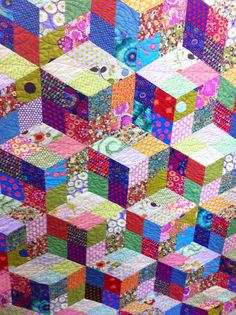 Humble Quilts.....bright, colorful tumbling blocks.