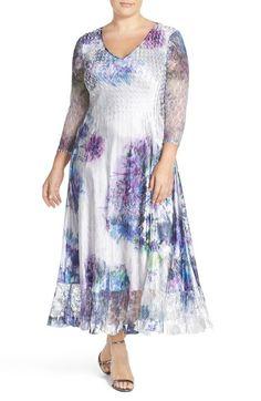Komarov Print Charmeuse & Chiffon A-Line Long Dress (Plus Size) available at…