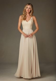 Romantic Beaded Lace with Chiffon Bridesmaid Dress Designed by Madeline Gardner. Shown in Champagne.
