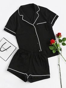 Cheap piece set, Buy Quality two set directly from China set short Suppliers: SHEIN Contrast Piping Pocket Front Pajama Set Black Short Sleeve Lapel Top With Elastic Waist Shorts Womens Two Piece Sets Cute Sleepwear, Loungewear, Cotton Sleepwear, Sleepwear Women, Pajama Outfits, Cute Outfits, Casual Outfits, Cute Pajamas, Black Pajamas