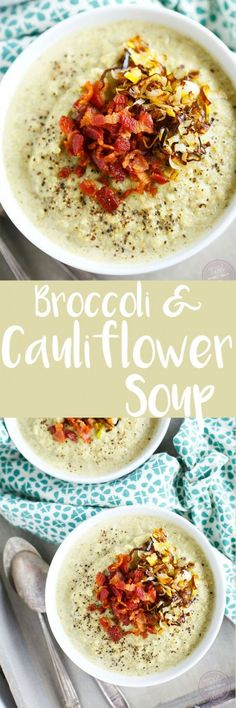 This simple roasted broccoli and cauliflower soup with crispy leeks and bacon will be your new favorite soup to warm you right up! So much flavor and it could not be simpler to make! #POURLOVEINN with @collegeinnbroth! #sponsored