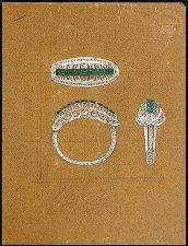 An emerald and diamond ring design by Lorenzo Homar for Cartier in NYC, 1940's