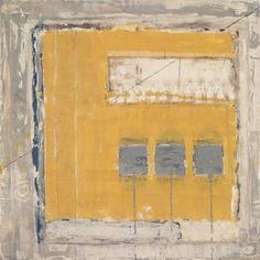 Marilyn Jonassen,   Yellow Square, 2007, encaustic on clay board, 24in x 24in x 2in