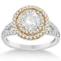 Double Halo Diamond Engagement Ring 14k Two Tone Gold 0.77ct - Allurez.com