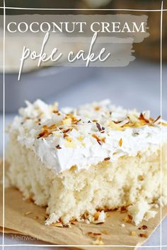 This Coconut Cream Cake is a coconut lovers dream. It's easy to make & packed full of delicious coconut flavor! Light & fluffy coconut cake topped with creamy whipped cream & homemade toasted coconut makes this Coconut Cream Cake enjoyable from the first bite to last. Coconut Recipes, Baking Recipes, Cake Recipes, Dessert Recipes, Dessert Ideas, Summer Desserts, Easy Desserts, Delicious Desserts, Sweet Desserts
