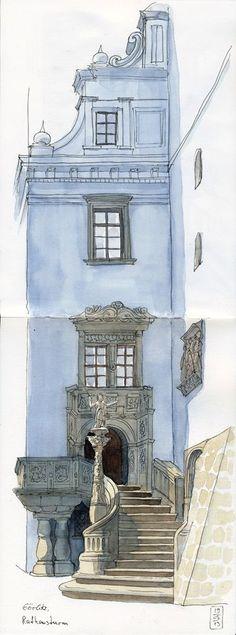 Beautiful entryway and architecture in Görlitz, Saxony.