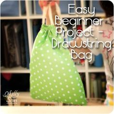 Beginner Sewing Project - A Drawstring Bag Tutorial - Melly Sews